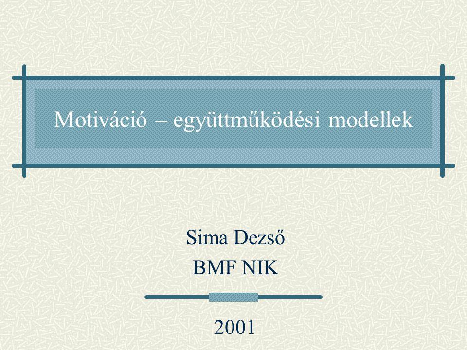 Motiváció – együttműködési modellek Sima Dezső BMF NIK 2001