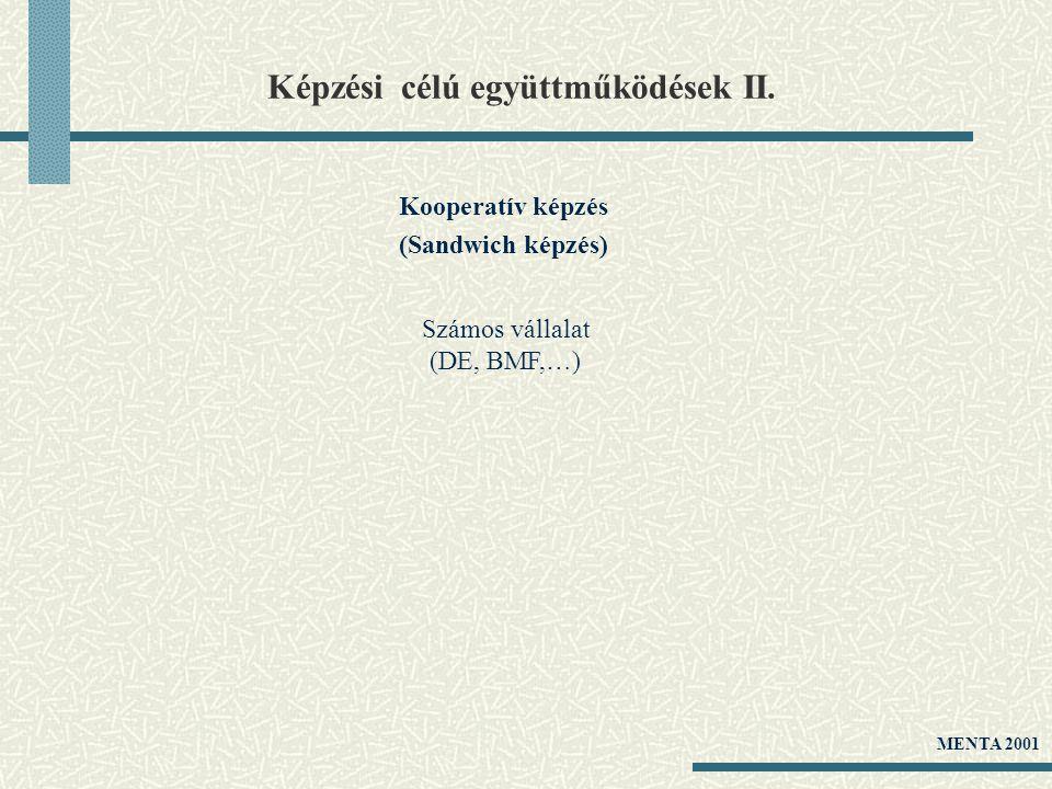 Képzési célú együttműködések II. Kooperatív képzés (Sandwich képzés) Számos vállalat (DE, BMF,…) MENTA 2001