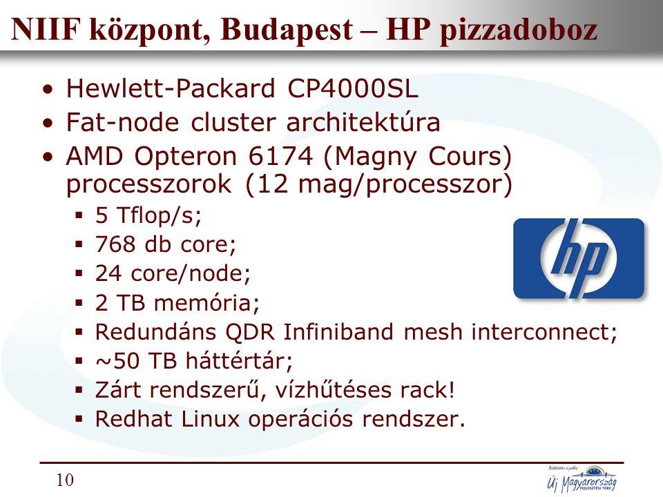 Nemzeti Információs Infrastruktúra Fejlesztési Intézet 10 NIIF központ, Budapest – HP pizzadoboz Hewlett-Packard CP4000SL Fat-node cluster architektúra AMD Opteron 6174 (Magny Cours) processzorok (12 mag/processzor)  5 Tflop/s;  768 db core;  24 core/node;  2 TB memória;  Redundáns QDR Infiniband mesh interconnect;  ~50 TB háttértár;  Zárt rendszerű, vízhűtéses rack.