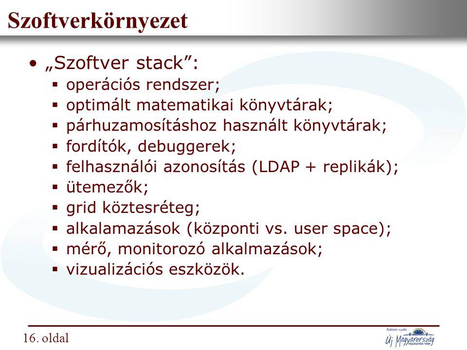"""Nemzeti Információs Infrastruktúra Fejlesztési Intézet Szoftverkörnyezet """"Szoftver stack :  operációs rendszer;  optimált matematikai könyvtárak;  párhuzamosításhoz használt könyvtárak;  fordítók, debuggerek;  felhasználói azonosítás (LDAP + replikák);  ütemezők;  grid köztesréteg;  alkalamazások (központi vs."""