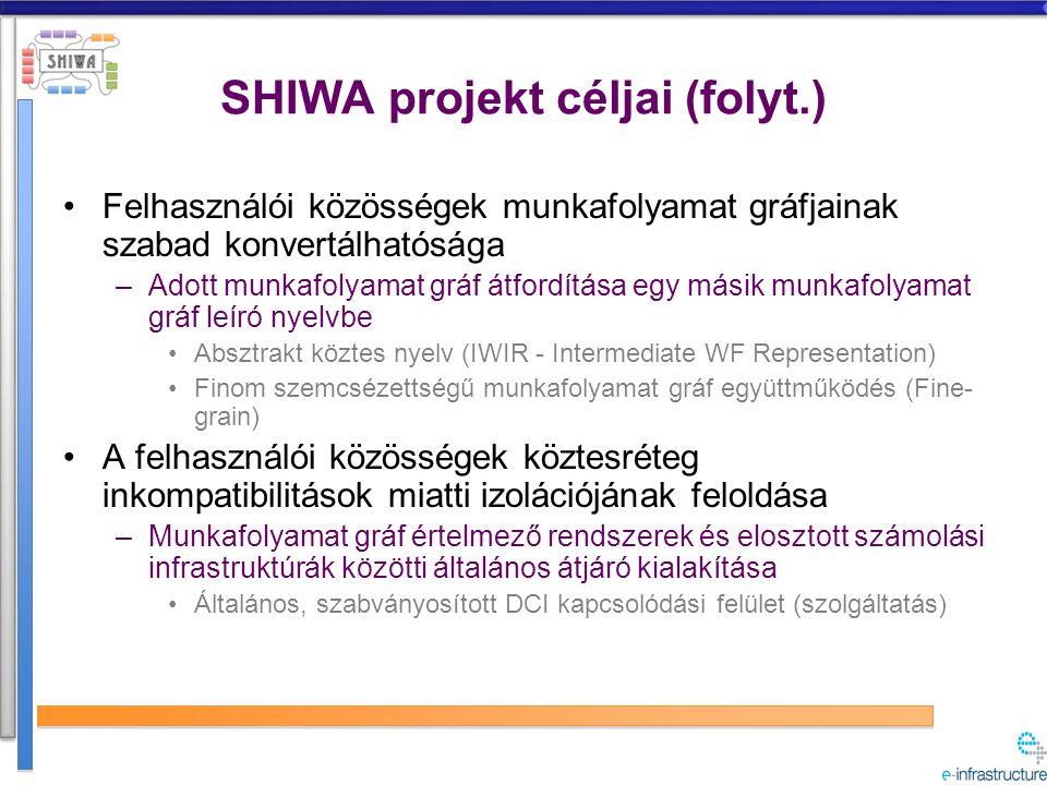 Módszer Meglévő munkafolyamat alapú megoldások újrahasznosítása –Munkafolyamat gráf alapú rendszerek használata kapcsolódási felületekként elosztott infrastruktúrák felé Durva (CGI) és finom (FGI) szemcsézettségű együttműködést megvalósító megoldások Workflow system Foreach d in D { A(d); } Foreach d in D { A(d); } Workflow language Front-end Core engine Back-end DCI Distributed data Application services Computing resources invocation data transfers