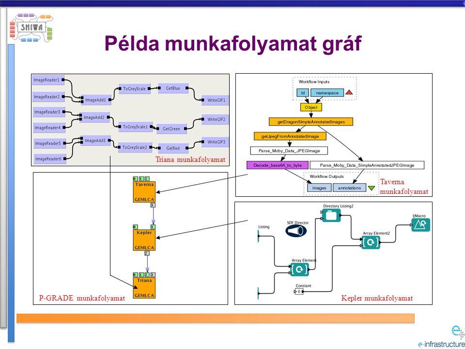 Példa munkafolyamat gráf Taverna munkafolyamat Kepler munkafolyamat Triana munkafolyamat P-GRADE munkafolyamat
