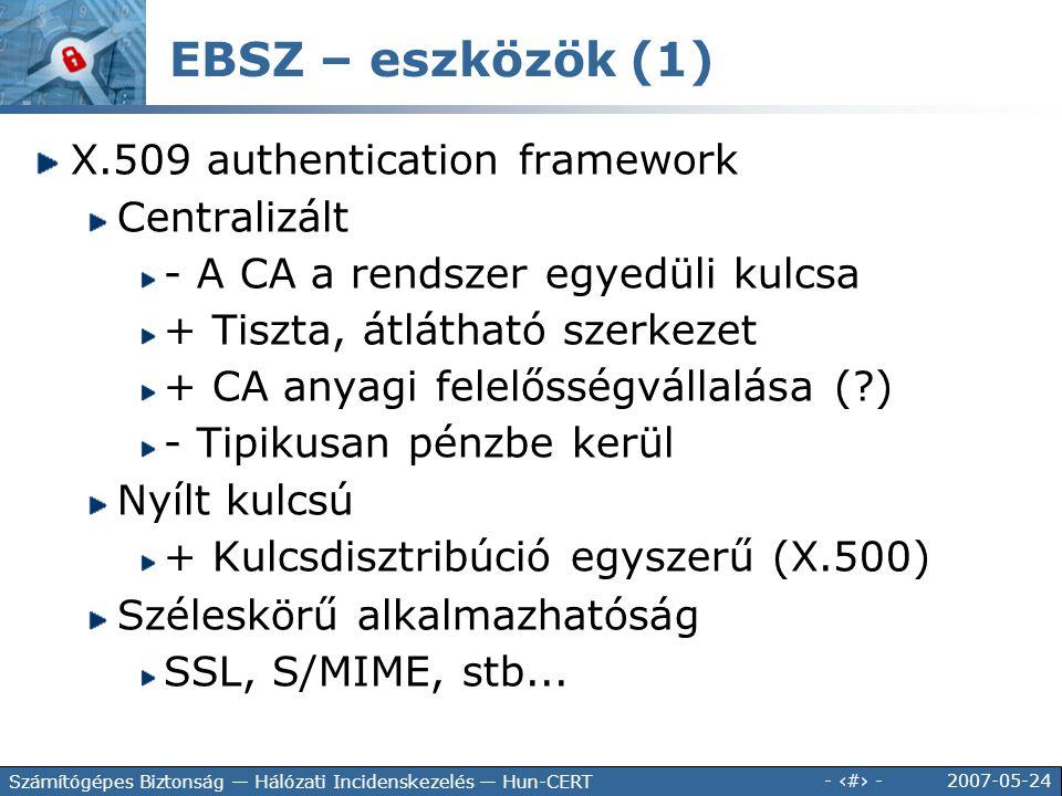 2007-05-24 - 107 - Számítógépes Biztonság — Hálózati Incidenskezelés — Hun-CERT EBSZ – eszközök (1) X.509 authentication framework Centralizált - A CA