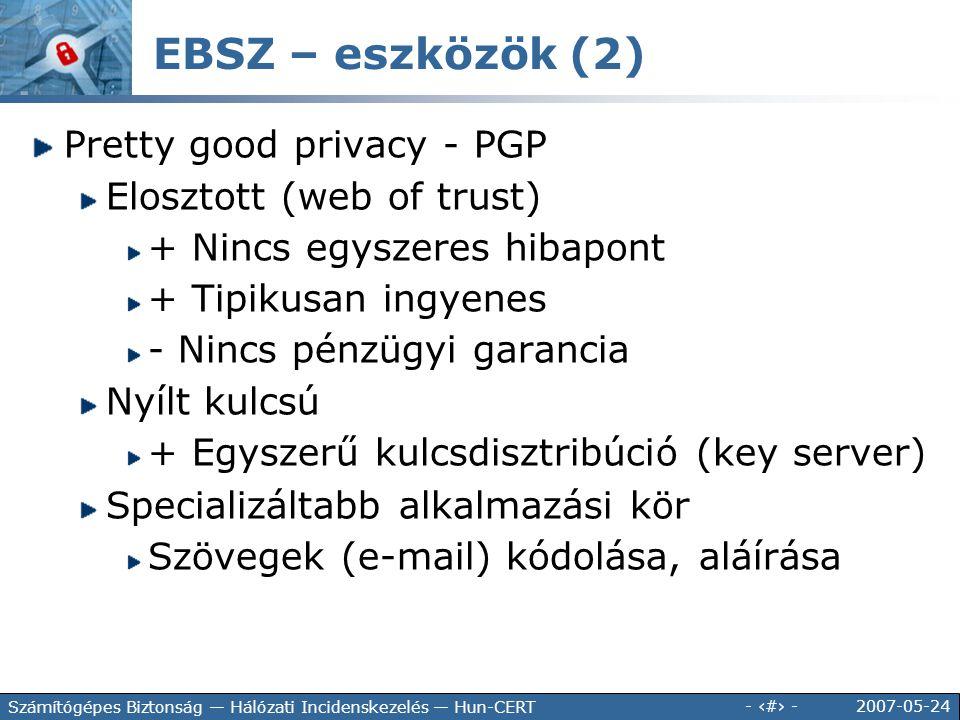 2007-05-24 - 108 - Számítógépes Biztonság — Hálózati Incidenskezelés — Hun-CERT EBSZ – eszközök (2) Pretty good privacy - PGP Elosztott (web of trust)