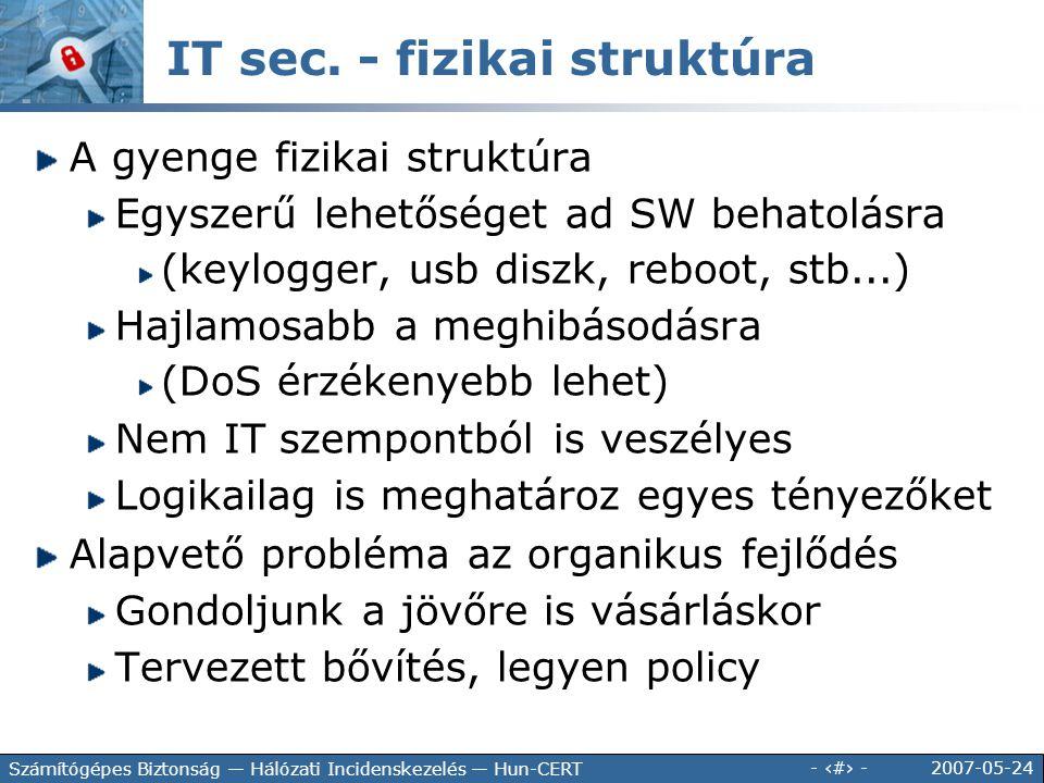 2007-05-24 - 111 - Számítógépes Biztonság — Hálózati Incidenskezelés — Hun-CERT IT sec. - fizikai struktúra A gyenge fizikai struktúra Egyszerű lehető