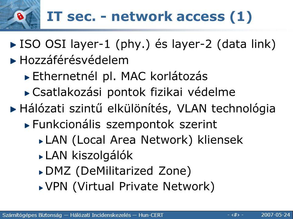 2007-05-24 - 113 - Számítógépes Biztonság — Hálózati Incidenskezelés — Hun-CERT IT sec. - network access (1) ISO OSI layer-1 (phy.) és layer-2 (data l