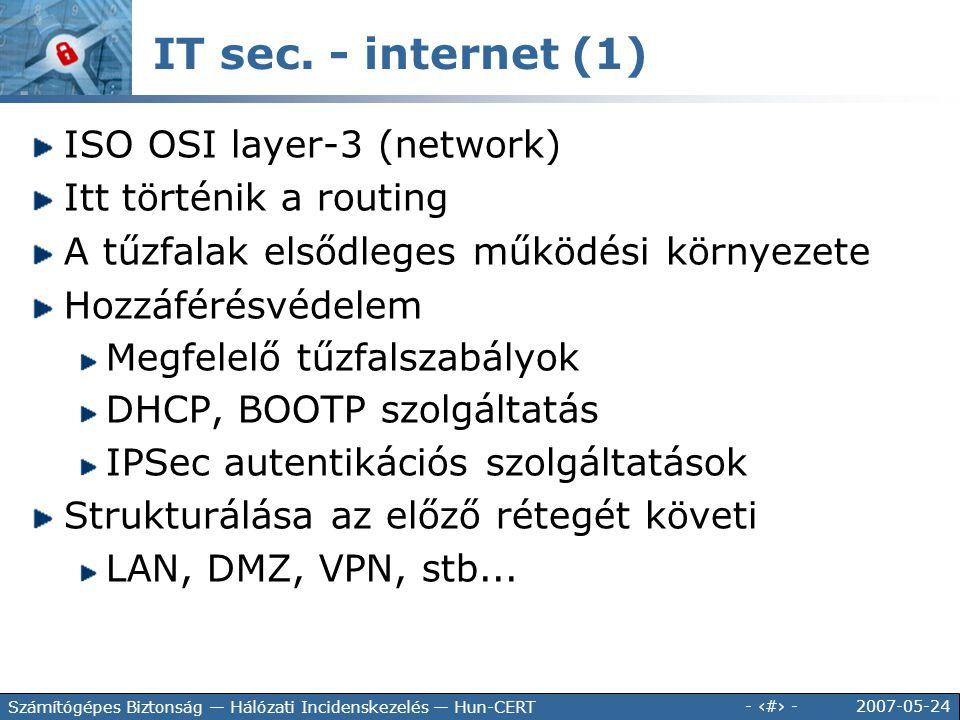2007-05-24 - 117 - Számítógépes Biztonság — Hálózati Incidenskezelés — Hun-CERT IT sec. - internet (1) ISO OSI layer-3 (network) Itt történik a routin
