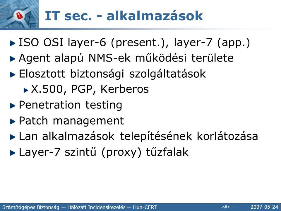 2007-05-24 - 120 - Számítógépes Biztonság — Hálózati Incidenskezelés — Hun-CERT IT sec. - alkalmazások ISO OSI layer-6 (present.), layer-7 (app.) Agen
