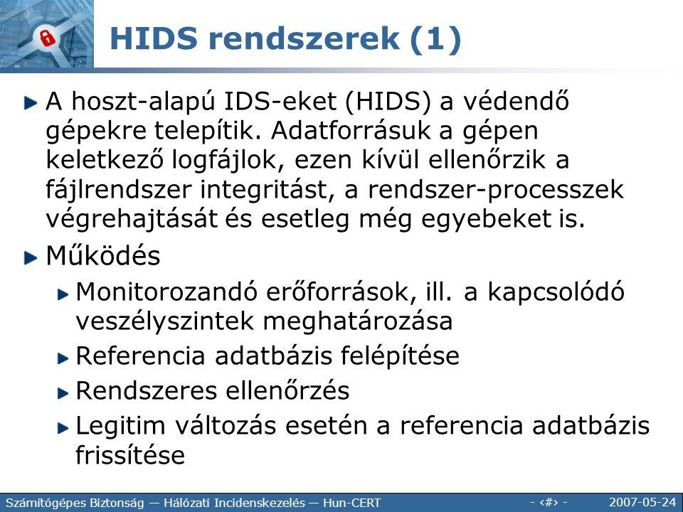 2007-05-24 - 129 - Számítógépes Biztonság — Hálózati Incidenskezelés — Hun-CERT A hoszt-alapú IDS-eket (HIDS) a védendő gépekre telepítik. Adatforrásu