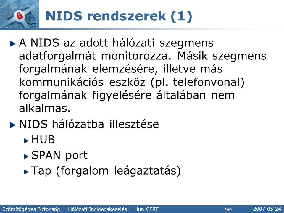 2007-05-24 - 133 - Számítógépes Biztonság — Hálózati Incidenskezelés — Hun-CERT A NIDS az adott hálózati szegmens adatforgalmát monitorozza. Másik sze