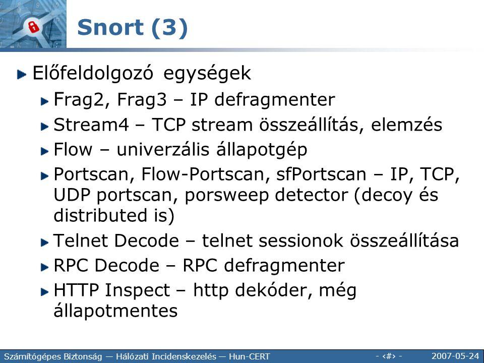2007-05-24 - 138 - Számítógépes Biztonság — Hálózati Incidenskezelés — Hun-CERT Előfeldolgozó egységek F rag2, Frag3 – IP defragmenter Stream4 – TCP s