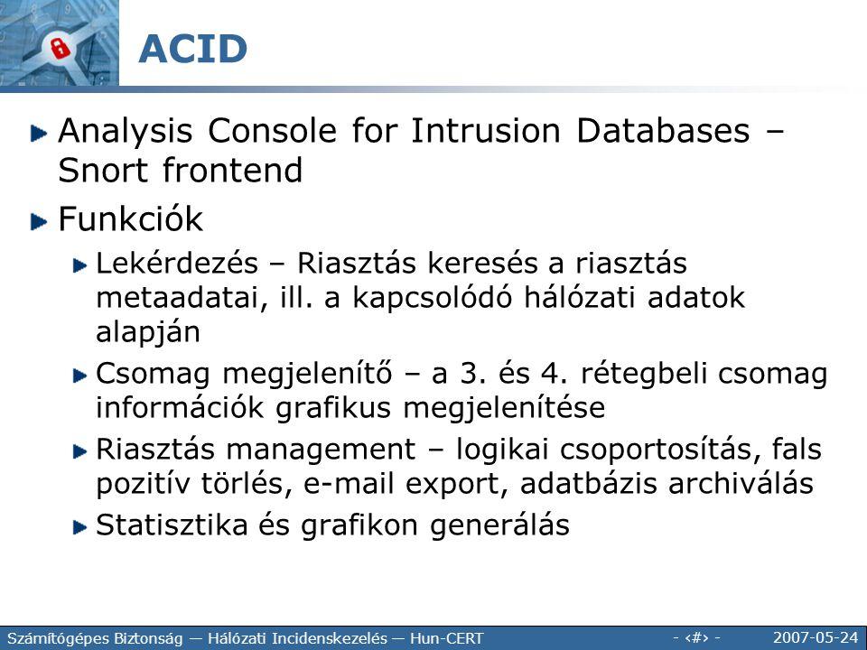 2007-05-24 - 141 - Számítógépes Biztonság — Hálózati Incidenskezelés — Hun-CERT Analysis Console for Intrusion Databases – Snort frontend Funkciók Lek