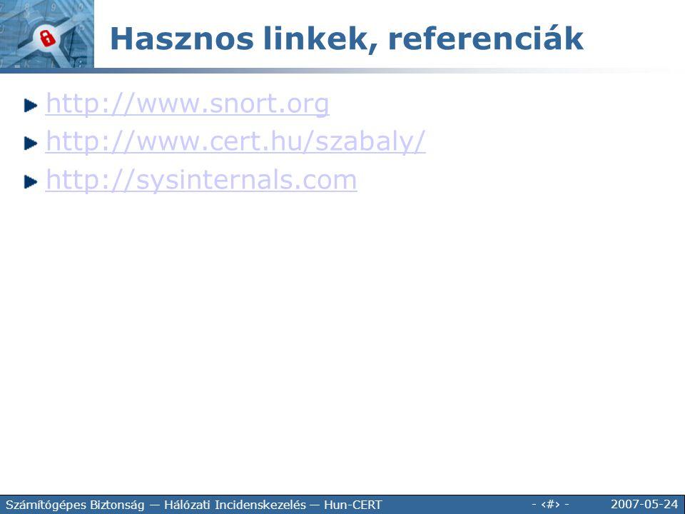 2007-05-24 - 148 - Számítógépes Biztonság — Hálózati Incidenskezelés — Hun-CERT http://www.snort.org http://www.cert.hu/szabaly/ http://sysinternals.c