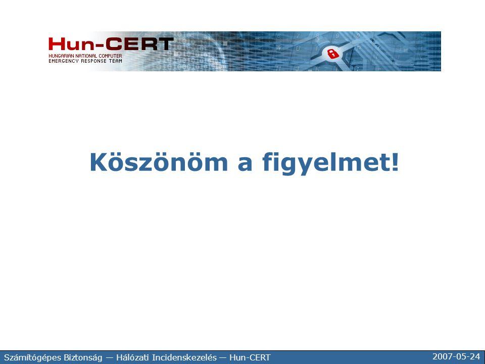 2007-05-24 Számítógépes Biztonság — Hálózati Incidenskezelés — Hun-CERT Köszönöm a figyelmet!