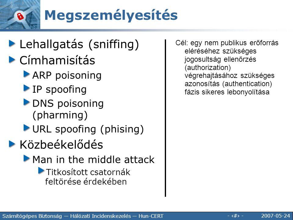 2007-05-24 - 15 - Számítógépes Biztonság — Hálózati Incidenskezelés — Hun-CERT Megszemélyesítés Lehallgatás (sniffing) Címhamisítás ARP poisoning IP s
