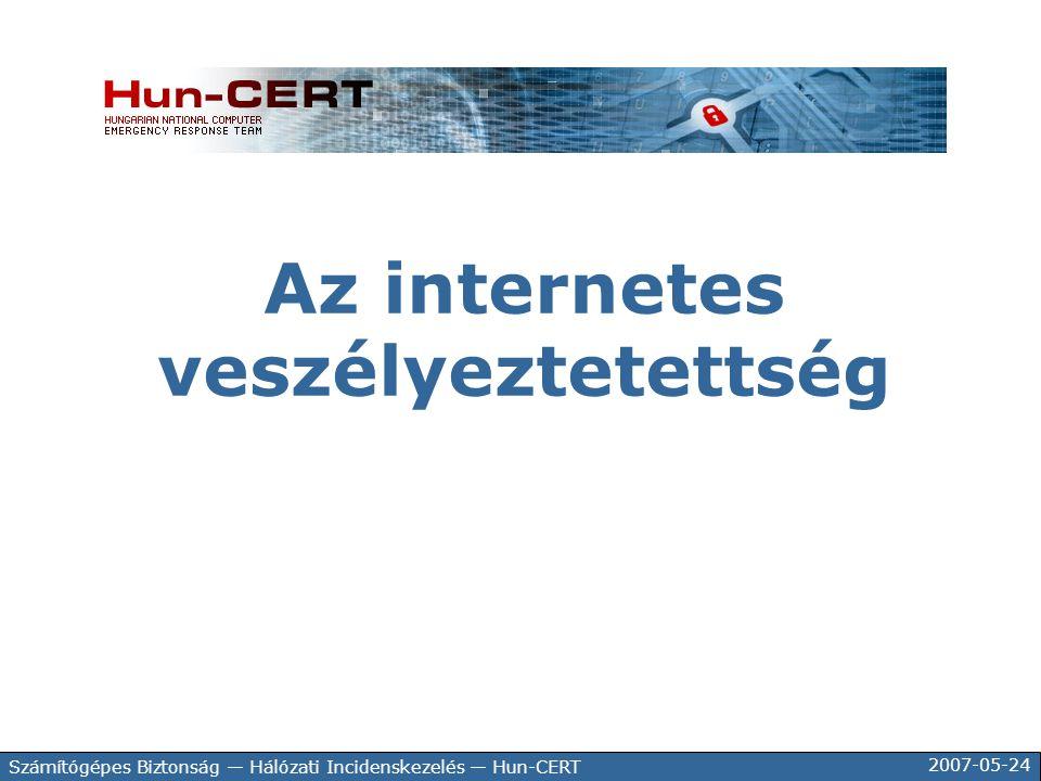 2007-05-24 Számítógépes Biztonság — Hálózati Incidenskezelés — Hun-CERT Az internetes veszélyeztetettség