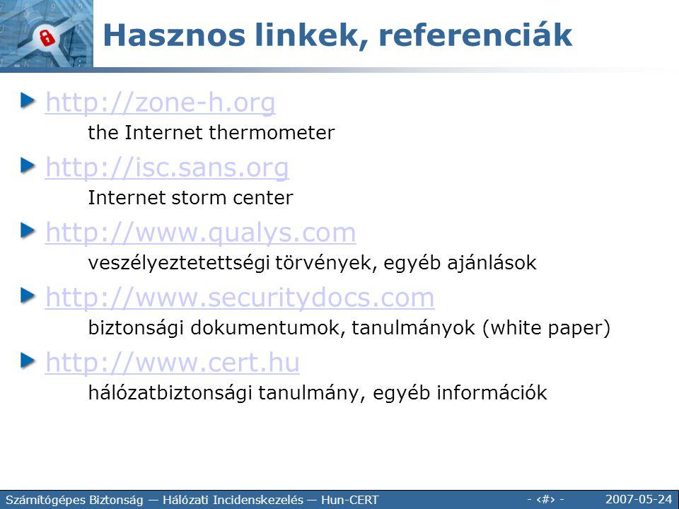 2007-05-24 - 24 - Számítógépes Biztonság — Hálózati Incidenskezelés — Hun-CERT Hasznos linkek, referenciák http://zone-h.org the Internet thermometer