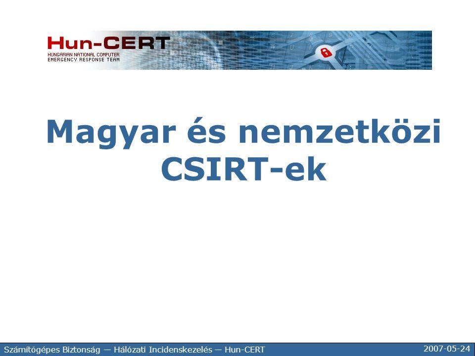 2007-05-24 Számítógépes Biztonság — Hálózati Incidenskezelés — Hun-CERT Magyar és nemzetközi CSIRT-ek