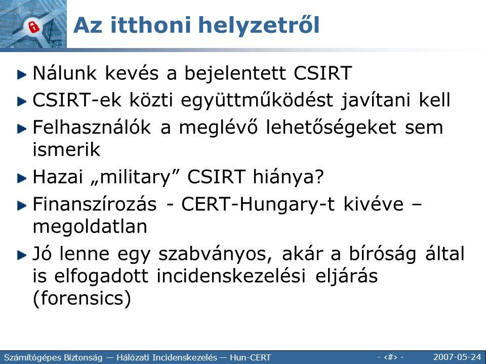 2007-05-24 - 34 - Számítógépes Biztonság — Hálózati Incidenskezelés — Hun-CERT Nálunk kevés a bejelentett CSIRT CSIRT-ek közti együttműködést javítani