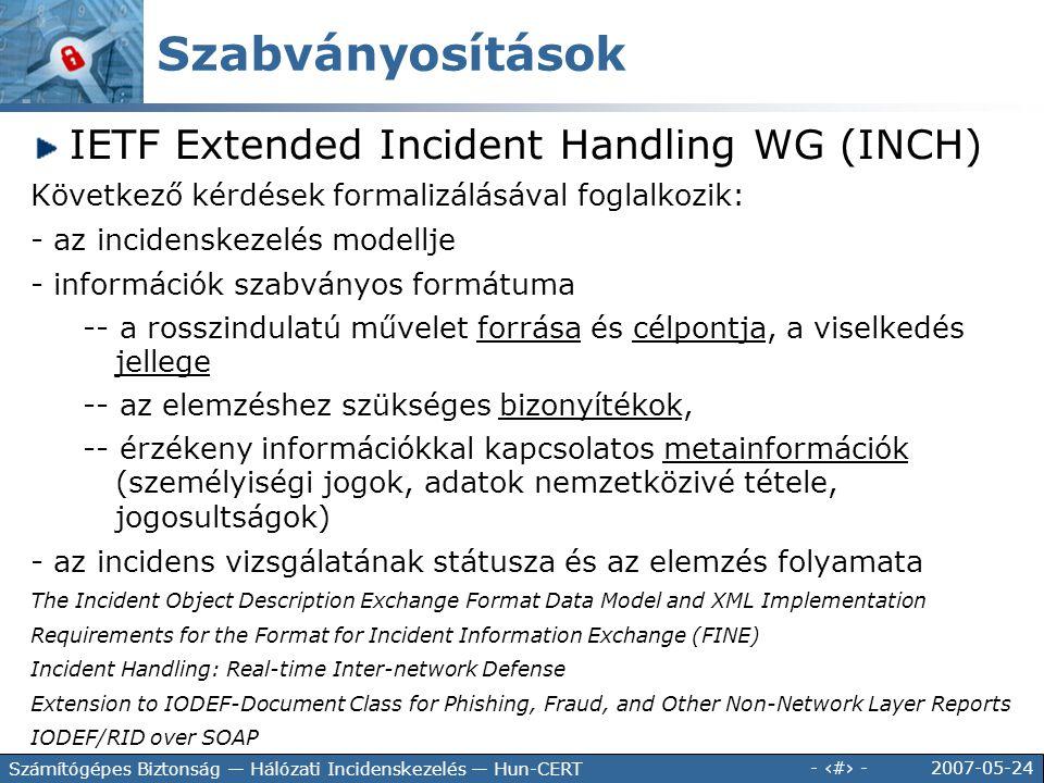 2007-05-24 - 35 - Számítógépes Biztonság — Hálózati Incidenskezelés — Hun-CERT IETF Extended Incident Handling WG (INCH) Következő kérdések formalizál