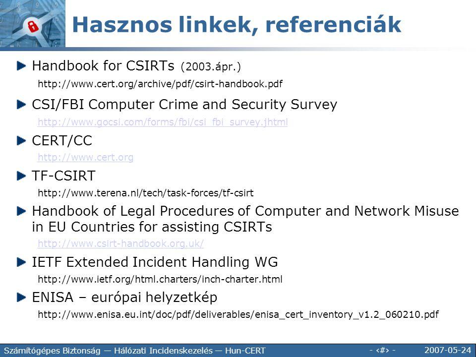2007-05-24 - 36 - Számítógépes Biztonság — Hálózati Incidenskezelés — Hun-CERT Handbook for CSIRTs (2003.ápr.) http://www.cert.org/archive/pdf/csirt-h