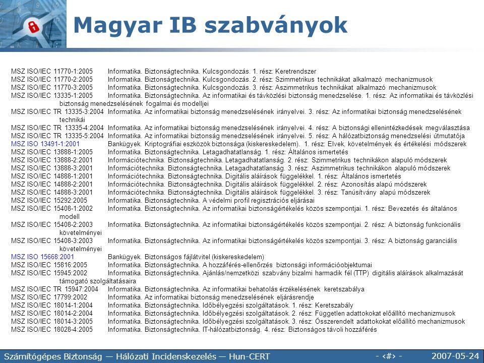 2007-05-24 - 44 - Számítógépes Biztonság — Hálózati Incidenskezelés — Hun-CERT MSZ ISO/IEC 11770-1:2005Informatika. Biztonságtechnika. Kulcsgondozás.