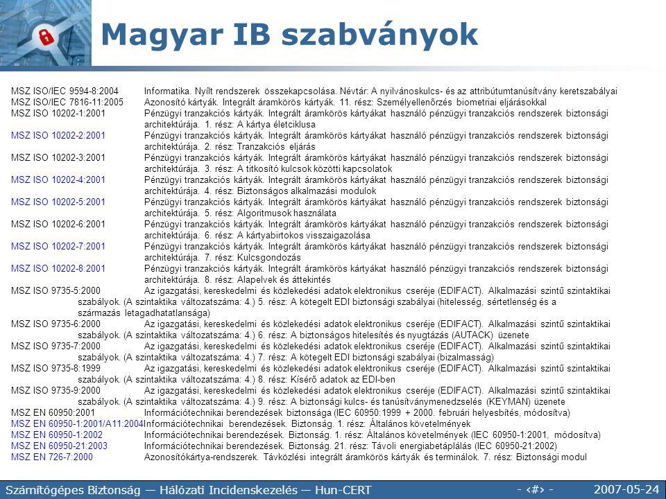 2007-05-24 - 45 - Számítógépes Biztonság — Hálózati Incidenskezelés — Hun-CERT MSZ ISO/IEC 9594-8:2004Informatika. Nyílt rendszerek összekapcsolása. N