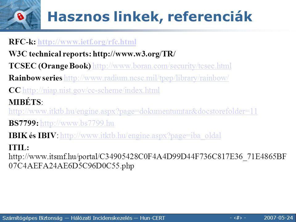2007-05-24 - 49 - Számítógépes Biztonság — Hálózati Incidenskezelés — Hun-CERT Hasznos linkek, referenciák RFC-k: http://www.ietf.org/rfc.htmlhttp://w