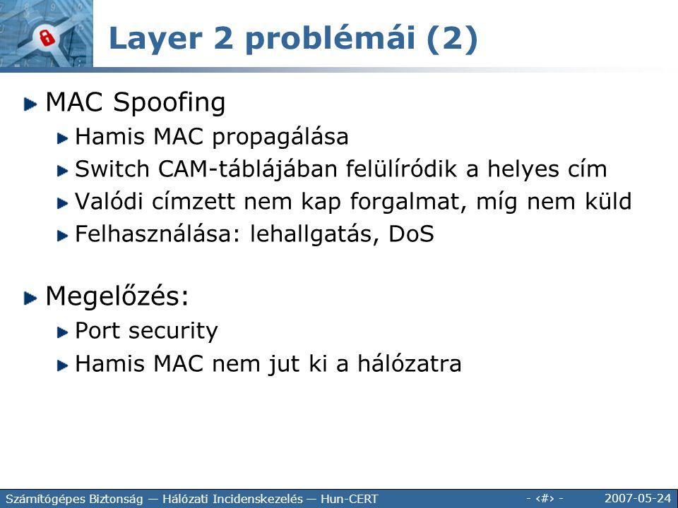 2007-05-24 - 57 - Számítógépes Biztonság — Hálózati Incidenskezelés — Hun-CERT MAC Spoofing Hamis MAC propagálása Switch CAM-táblájában felülíródik a