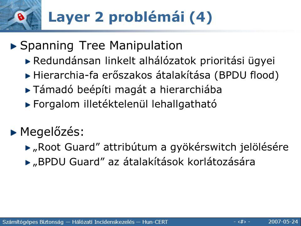 2007-05-24 - 59 - Számítógépes Biztonság — Hálózati Incidenskezelés — Hun-CERT Spanning Tree Manipulation Redundánsan linkelt alhálózatok prioritási ü