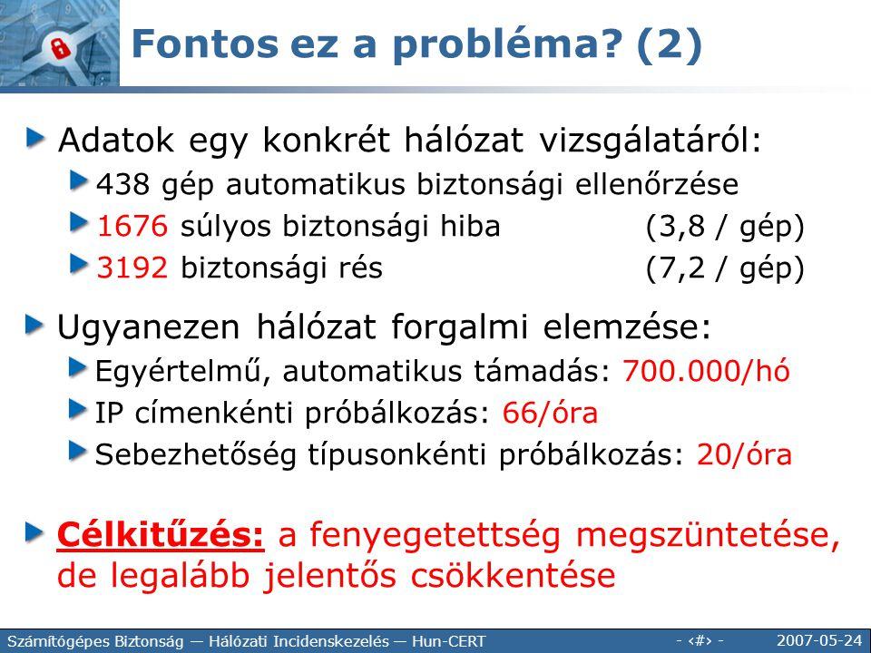 2007-05-24 - 6 - Számítógépes Biztonság — Hálózati Incidenskezelés — Hun-CERT Adatok egy konkrét hálózat vizsgálatáról: 438 gép automatikus biztonsági