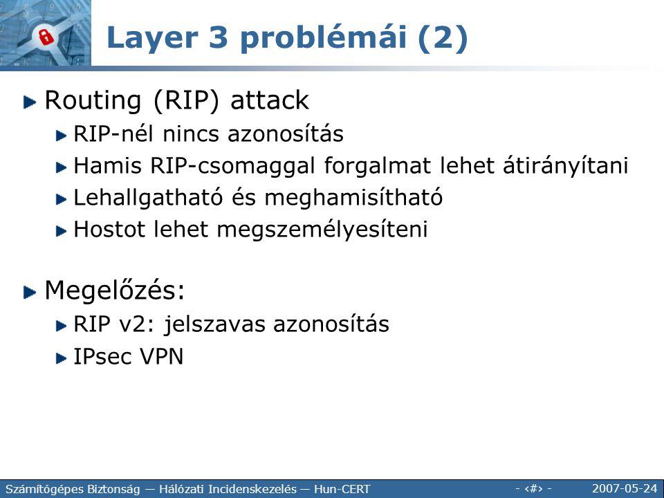 2007-05-24 - 63 - Számítógépes Biztonság — Hálózati Incidenskezelés — Hun-CERT Routing (RIP) attack RIP-nél nincs azonosítás Hamis RIP-csomaggal forga