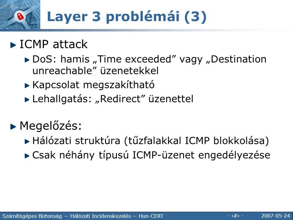 """2007-05-24 - 64 - Számítógépes Biztonság — Hálózati Incidenskezelés — Hun-CERT ICMP attack DoS: hamis """"Time exceeded"""" vagy """"Destination unreachable"""" ü"""