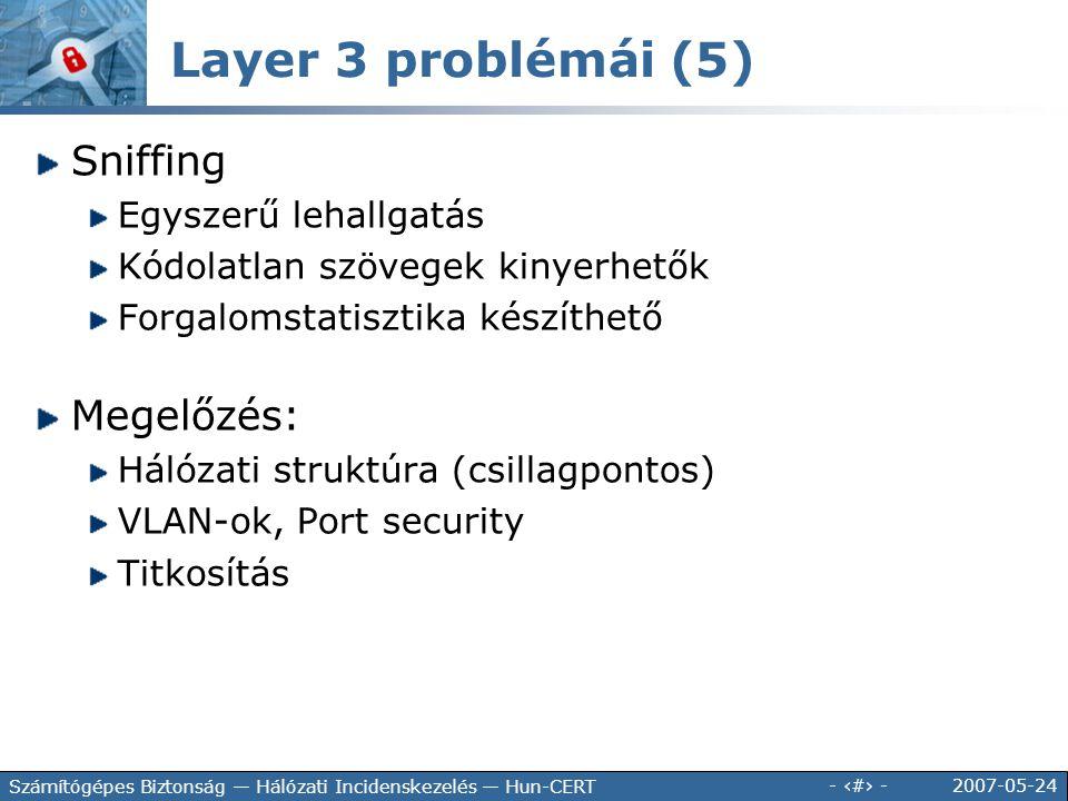 2007-05-24 - 66 - Számítógépes Biztonság — Hálózati Incidenskezelés — Hun-CERT Sniffing Egyszerű lehallgatás Kódolatlan szövegek kinyerhetők Forgaloms