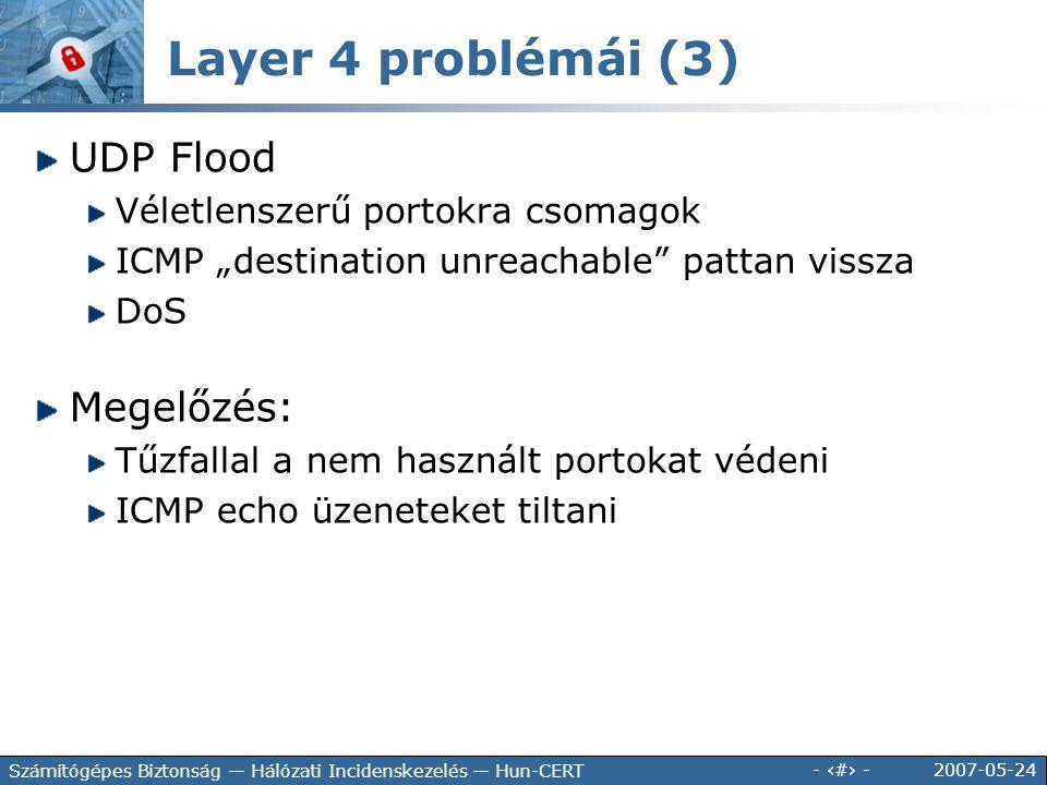"""2007-05-24 - 70 - Számítógépes Biztonság — Hálózati Incidenskezelés — Hun-CERT UDP Flood Véletlenszerű portokra csomagok ICMP """"destination unreachable"""