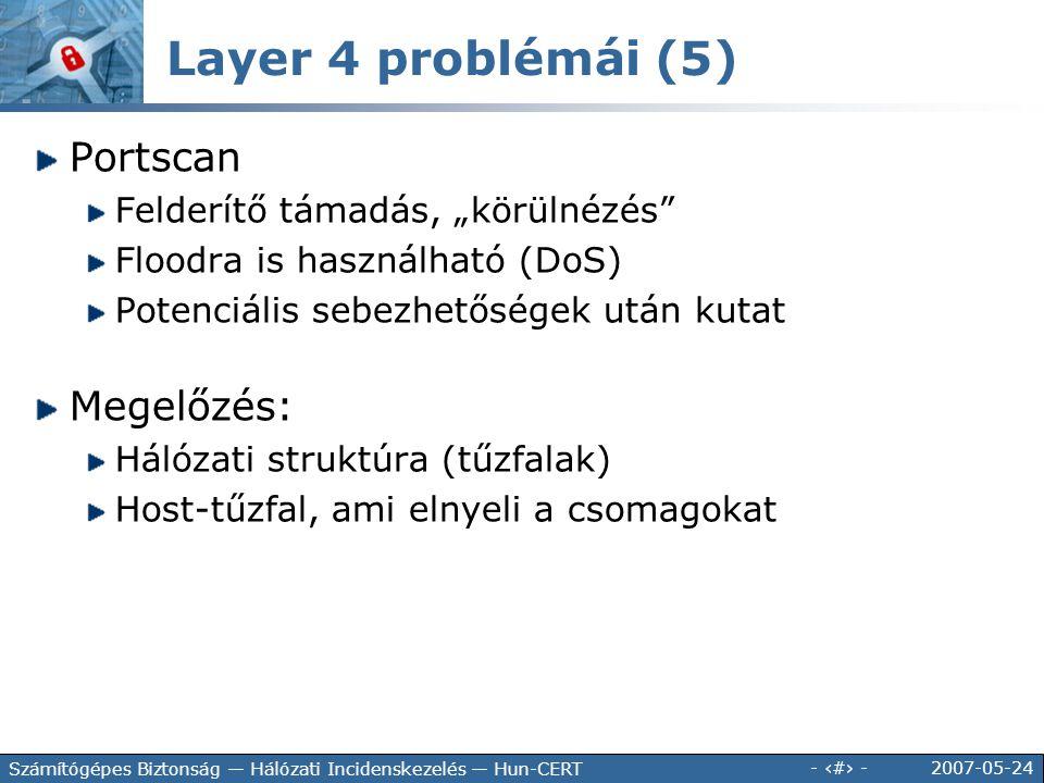 """2007-05-24 - 72 - Számítógépes Biztonság — Hálózati Incidenskezelés — Hun-CERT Portscan Felderítő támadás, """"körülnézés"""" Floodra is használható (DoS) P"""