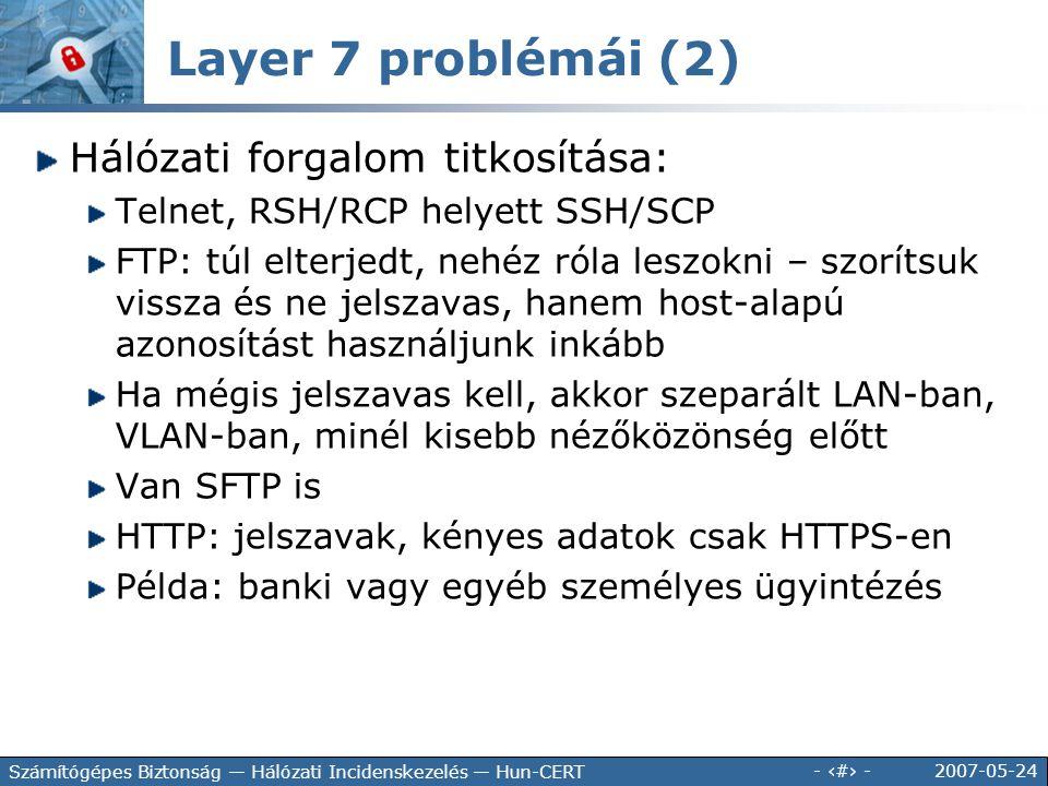 2007-05-24 - 74 - Számítógépes Biztonság — Hálózati Incidenskezelés — Hun-CERT Hálózati forgalom titkosítása: Telnet, RSH/RCP helyett SSH/SCP FTP: túl