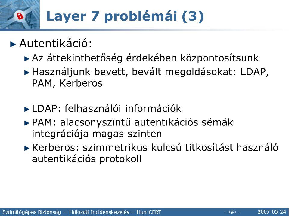 2007-05-24 - 75 - Számítógépes Biztonság — Hálózati Incidenskezelés — Hun-CERT Autentikáció: Az áttekinthetőség érdekében központosítsunk Használjunk