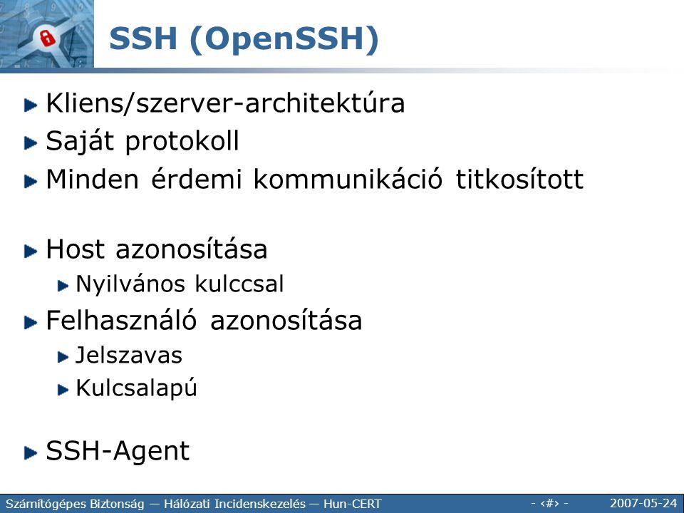 2007-05-24 - 84 - Számítógépes Biztonság — Hálózati Incidenskezelés — Hun-CERT Kliens/szerver-architektúra Saját protokoll Minden érdemi kommunikáció