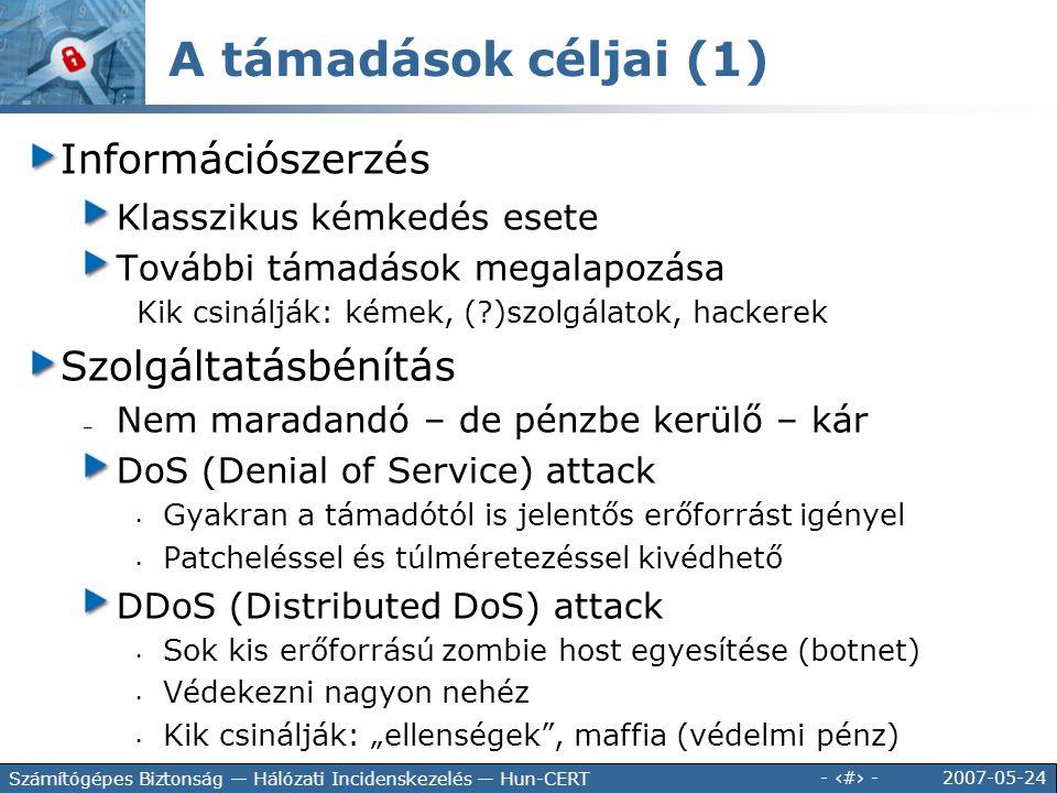 2007-05-24 - 9 - Számítógépes Biztonság — Hálózati Incidenskezelés — Hun-CERT Információszerzés Klasszikus kémkedés esete További támadások megalapozá
