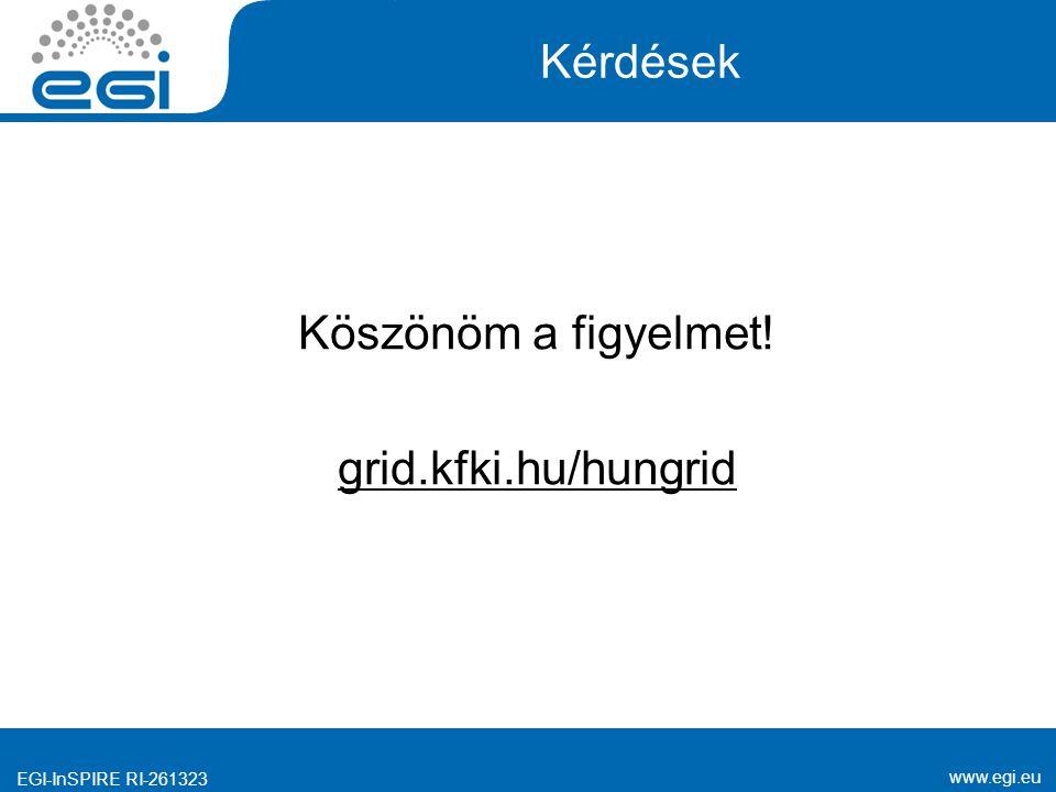 www.egi.eu EGI-InSPIRE RI-261323 Kérdések Köszönöm a figyelmet! grid.kfki.hu/hungrid