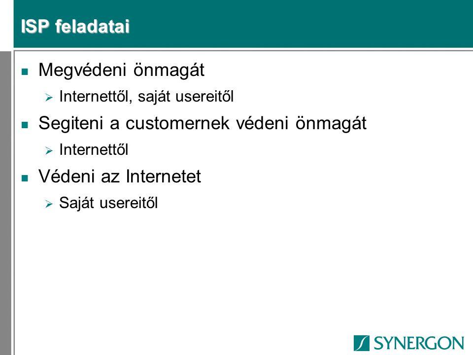 ISP feladatai n Megvédeni önmagát  Internettől, saját usereitől n Segiteni a customernek védeni önmagát  Internettől n Védeni az Internetet  Saját usereitől