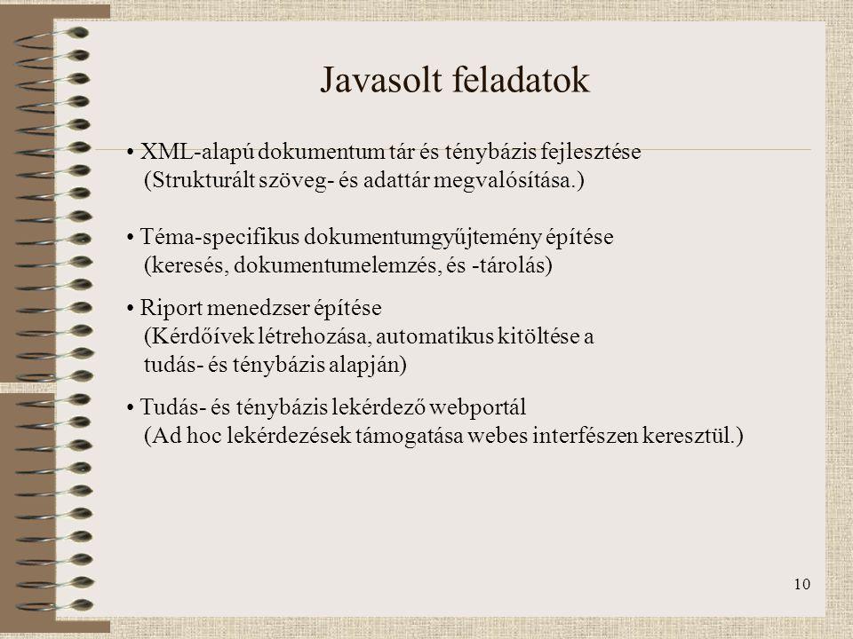 10 Javasolt feladatok XML-alapú dokumentum tár és ténybázis fejlesztése (Strukturált szöveg- és adattár megvalósítása.) Téma-specifikus dokumentumgyűj