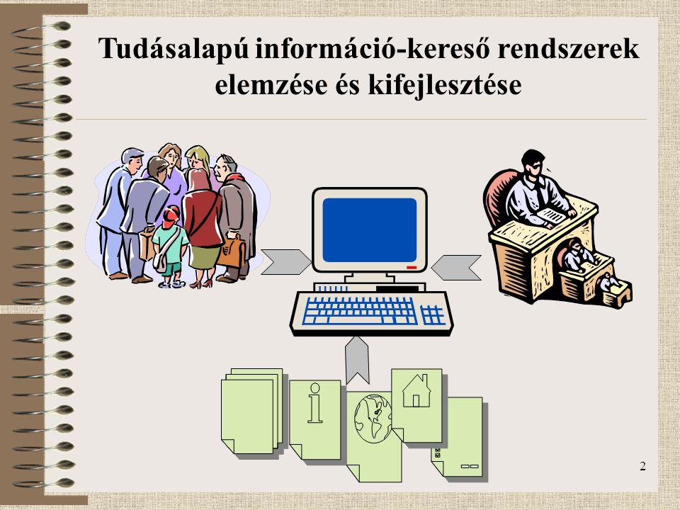 3 Természetes nyelv feldolgozás Tudásalapú információ-kereső rendszerek elemzése és kifejlesztése