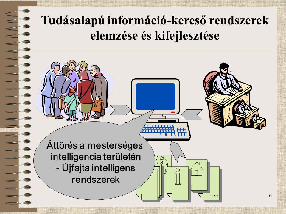 6 Áttörés a mesterséges intelligencia területén - Újfajta intelligens rendszerek Tudásalapú információ-kereső rendszerek elemzése és kifejlesztése