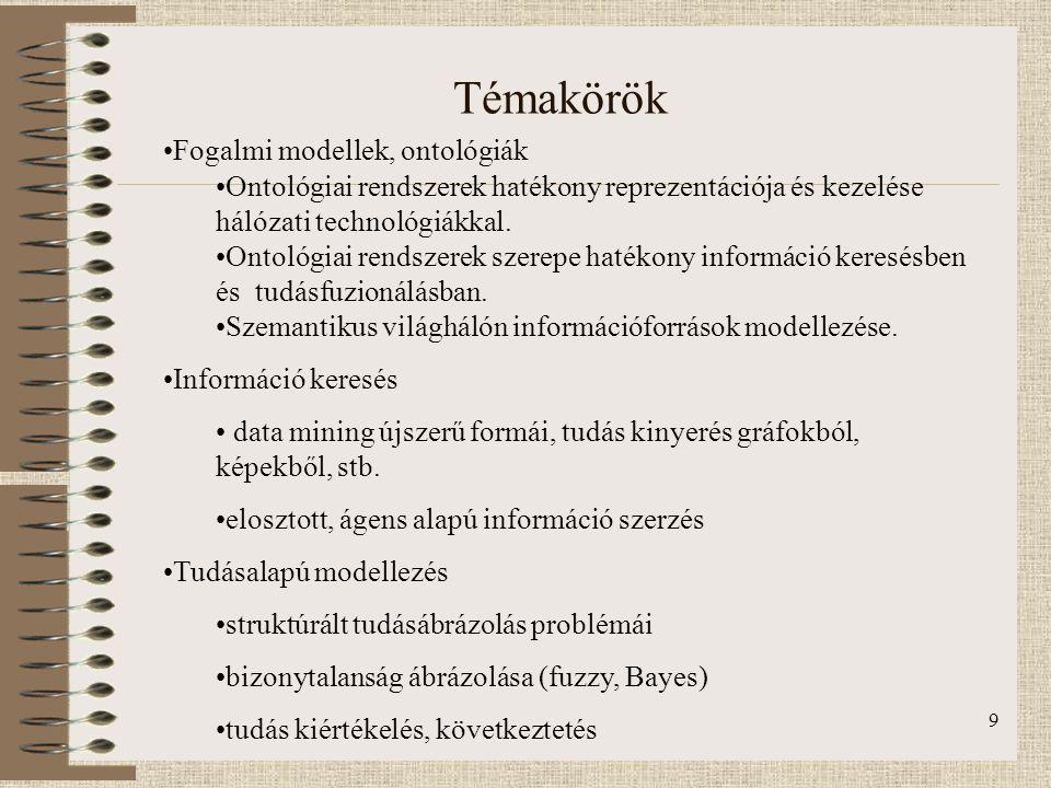 9 Témakörök Fogalmi modellek, ontológiák Ontológiai rendszerek hatékony reprezentációja és kezelése hálózati technológiákkal. Ontológiai rendszerek sz