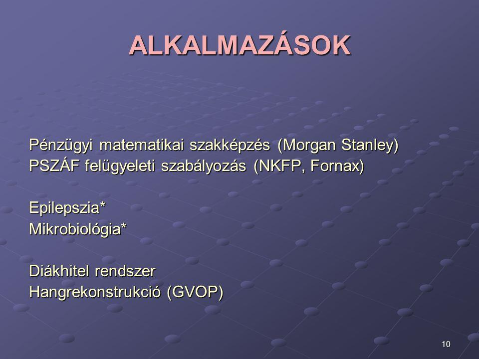 10 ALKALMAZÁSOK Pénzügyi matematikai szakképzés (Morgan Stanley) PSZÁF felügyeleti szabályozás (NKFP, Fornax) Epilepszia* Mikrobiológia* Diákhitel ren