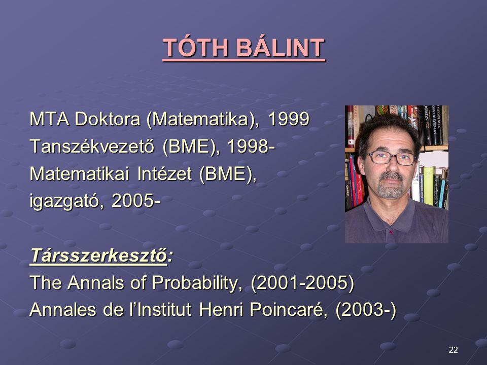 22 TÓTH BÁLINT TÓTH BÁLINT MTA Doktora (Matematika), 1999 Tanszékvezető (BME), 1998- Matematikai Intézet (BME), igazgató, 2005- Társszerkesztő: The An