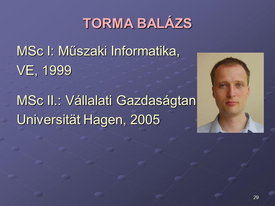 29 TORMA BALÁZS MSc I: Műszaki Informatika, VE, 1999 MSc II.: Vállalati Gazdaságtan, Universität Hagen, 2005