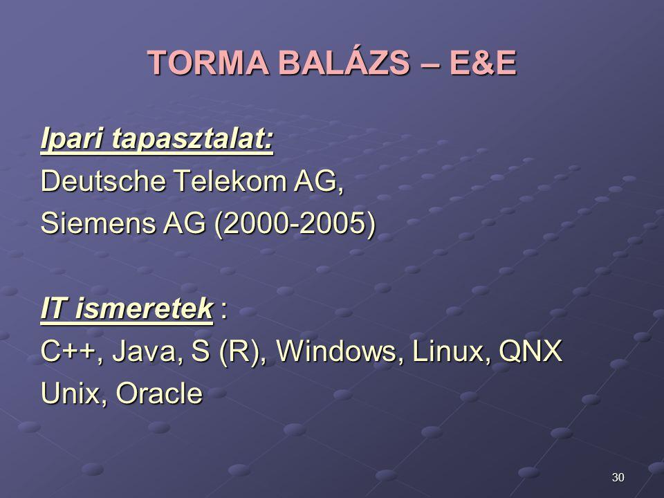 30 TORMA BALÁZS – E&E Ipari tapasztalat: Deutsche Telekom AG, Siemens AG (2000-2005) IT ismeretek : C++, Java, S (R), Windows, Linux, QNX Unix, Oracle